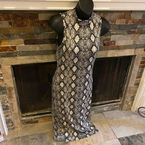 Sleeveless Snake Print Midi Dress